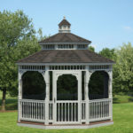 12' Vinyl Octagon Victorian Gazebo w/ Optional Ivory Vinyl & Screens