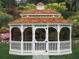 12'x16' PT Oval Victorian Gazebo w/ Optional Screens & White Paint