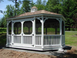 12'x18' PT Oval Gazebo w/ Optional Screens & White Paint