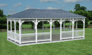 12'x24' Vinyl-Rectangle Gazebo w/ Optional Rubber Slate Roof