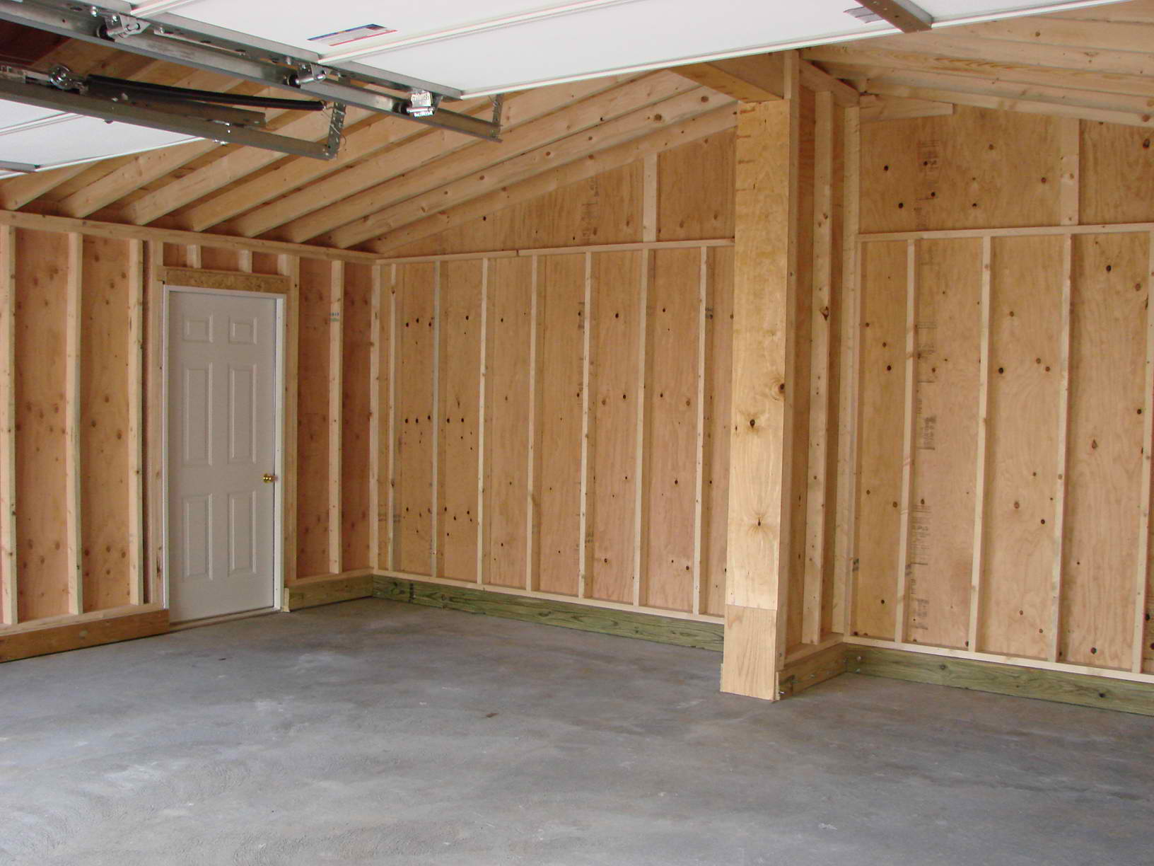 Interior View Of Floorless 2 Car Garage