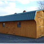 Board & Batten 12'x28' Dutch Barn Quaker (Dutch Barn w/ 2ft. Overhang)