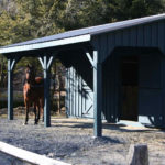 10'x24' Stall Barn w/ Optional 8' Hinged Overhang