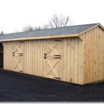 Board & Batten 12'x34' 2-Stall-Barn w/ Run-In