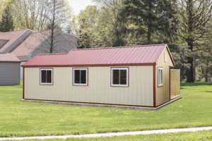 10x28 Metal Siding Traditional 5 Box Kennel Back