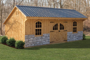 12x24 Carriage Style Barn with Stone
