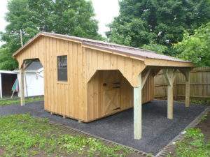 8x16 Board Batten Garden Shed w Double Overhangs