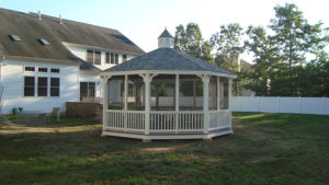 18' Vinyl Octagon Classic Gazebo With Screens
