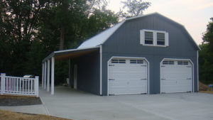 24x32 2 Story Gambrel Garage w- Side Overhang