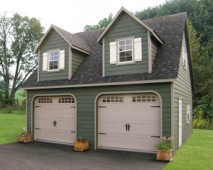 24x24 Two- Story Vinyl Boston w/ Homestead Garage Doors