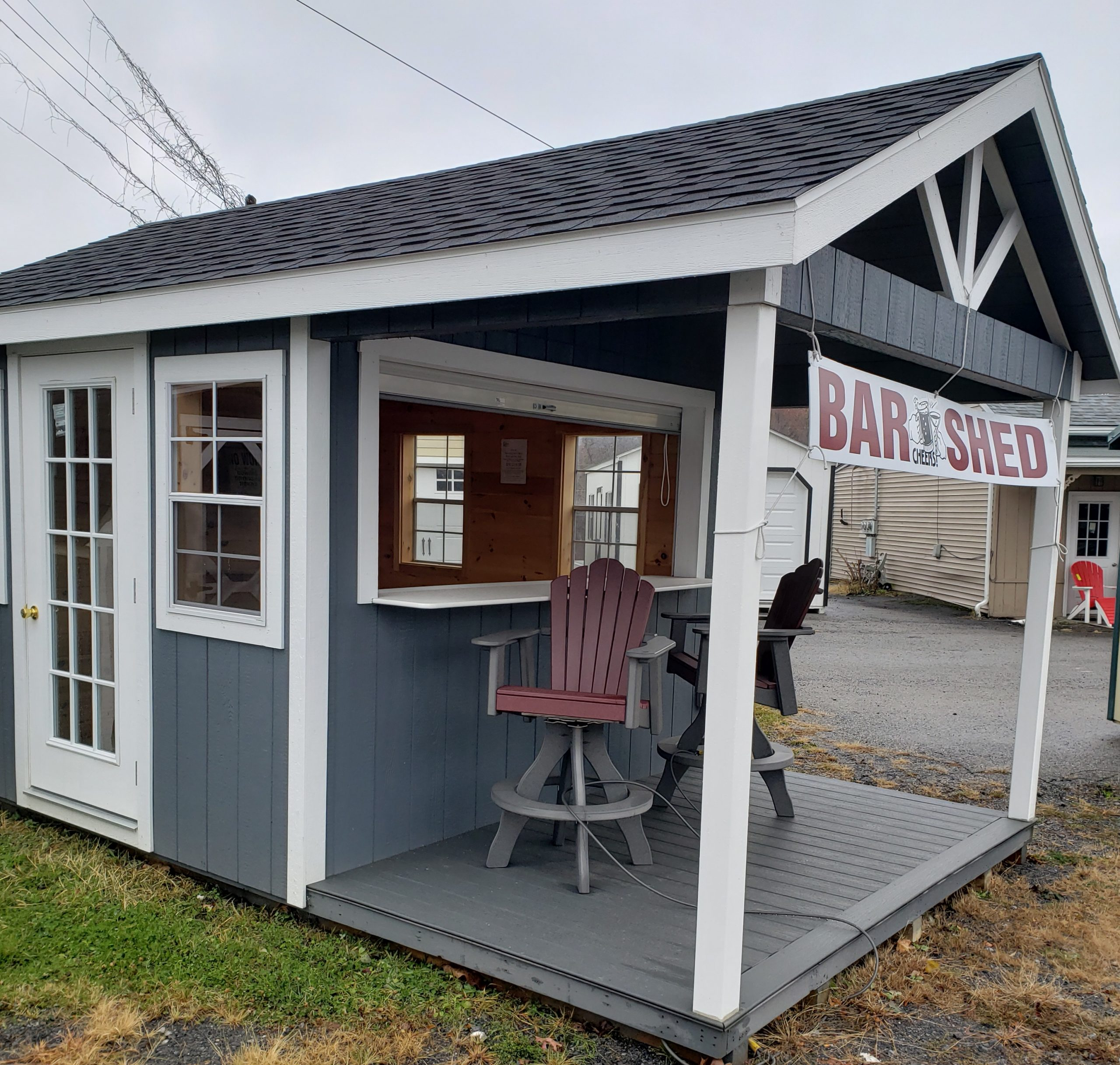 10'x16' Gable End Counter Bar/ Entertainment Shed